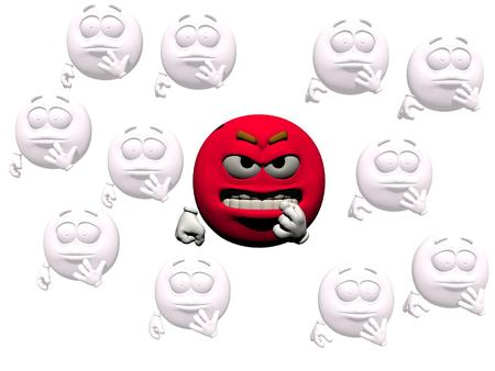 it is isolated: emoticon anger red and white it isolated in white background Stock Photo