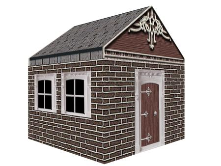 brick house: brick house isolated in white background