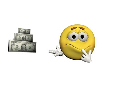 disturbed: moticon disturbed by money isolated in white background