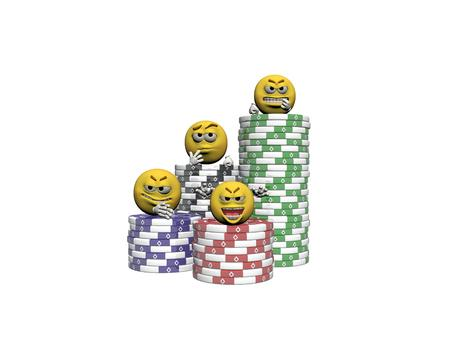 emoticon that play casino isolated in white background