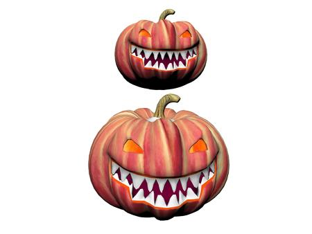 spook: two orange pumpkins isolated in white background Stock Photo