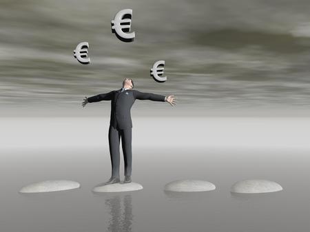 businessman that runs on steps - 3D rendering