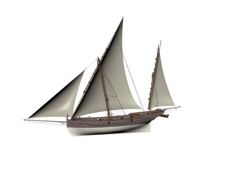 Illustration Sailboat On The Sea - 3d rendering