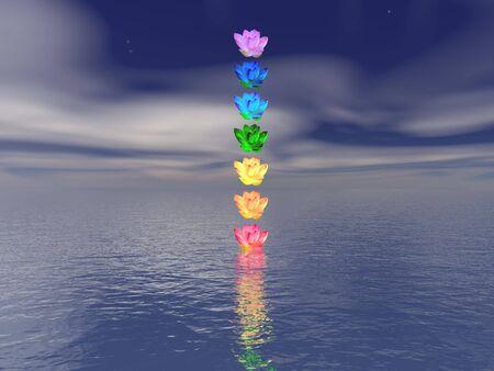 Meditation landscape and chakras for balance - 3d render