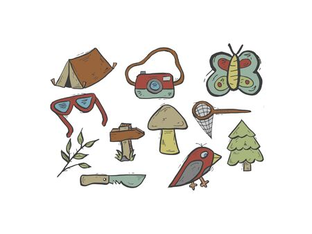 multiple camping objects   on white background - 3d rendering Banque d'images