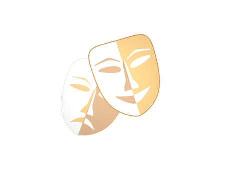 two clown masks on white background - 3d rendering