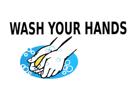 wash hands on white background - 3d rendering