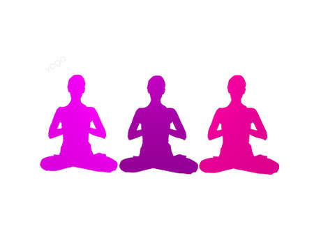 the word yoga with many colors on a white background - 3d render
