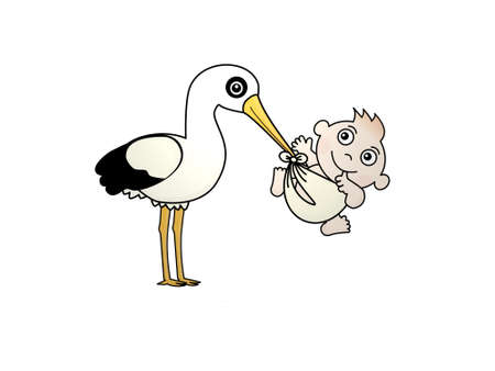 stork bringing a baby on white background - 3d rendering