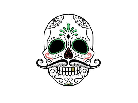 skull decorated with colors on a white background - 3d rendering