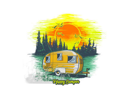 multiple camping objects and logo on white background - 3d rendering