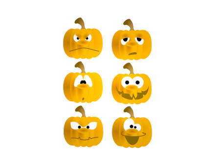 six pumpkins on white background - 3d rendering