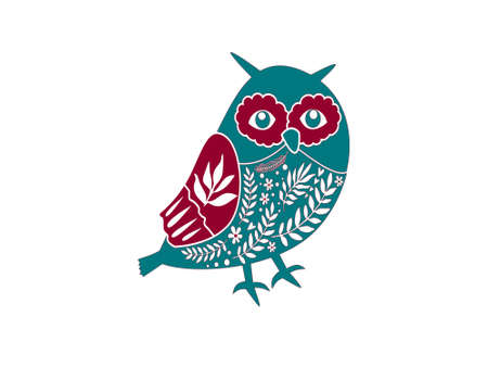 christmas owl on white background - 3d rendering Banque d'images