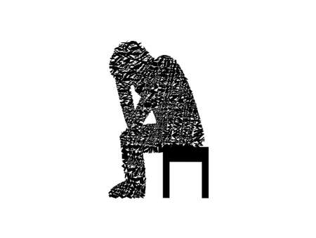 human in depression on white background - 3d rendering Banque d'images