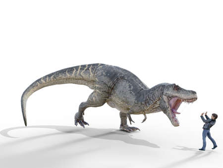 dionsaur attacks human on white background - 3d rendering