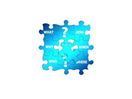 question puzzle on white background - 3d rendering