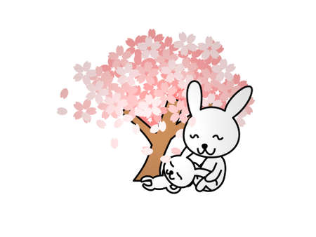 two rabbits at the foot of a tree on a white background - 3d rendering