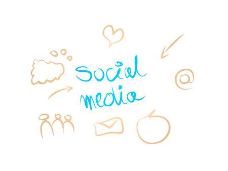 social media on white background - 3d rendering
