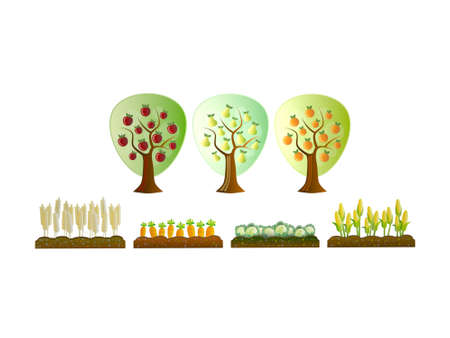 seasons on trees on white background - 3d rendering Banque d'images