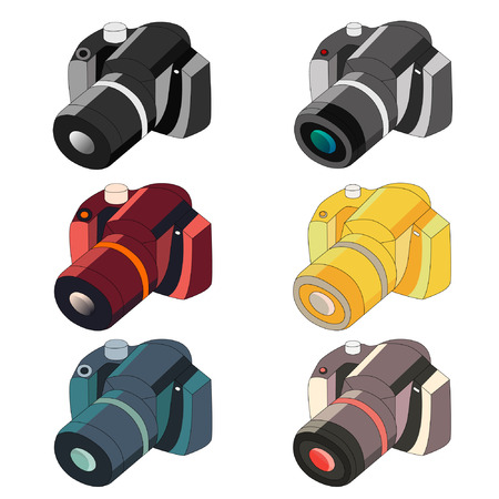 Vector set of photo cameras