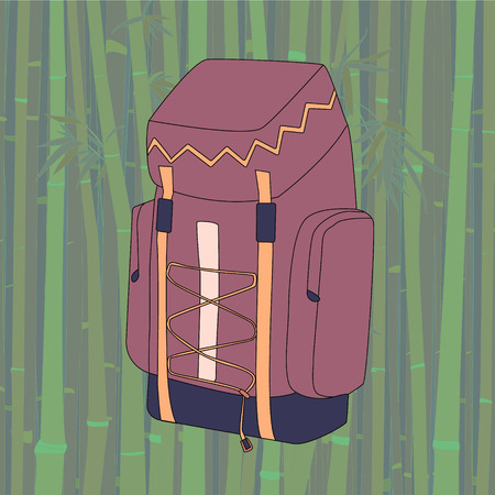 Vector drawing of purple-pink backpack-rucksack for hikers on bamboo background Ilustração