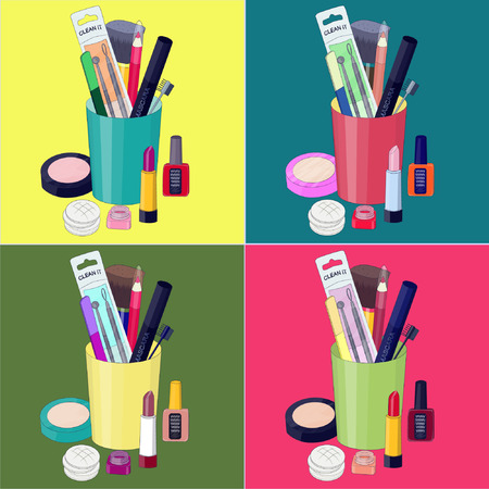 A set of beauty cosmetic makeup products Illustration