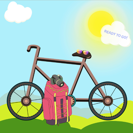 Vector drawing of a bike with a backpack, camera and sunglasses