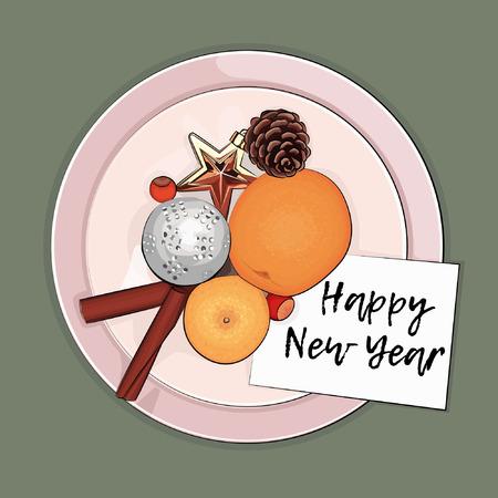 Nieuwjaarswenskaart met Kerstmisdecoratie, kegels, mandarijnen en pijpjes kaneel Stock Illustratie