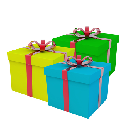 A few gift boxes. A gift for a holiday. 3d rendering. Reklamní fotografie