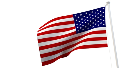 The state flag, 3d image, is fluttering in the wind. On a white background.