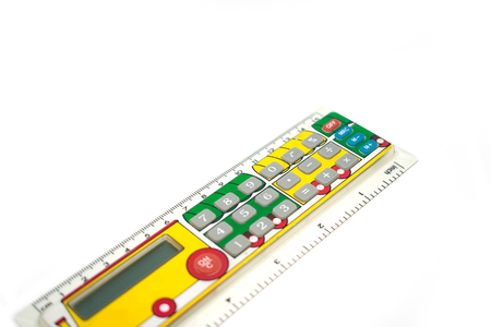 Calculator for schoolchildren. In the form of a line with the image of a paravoz. On a white background. Stock Photo