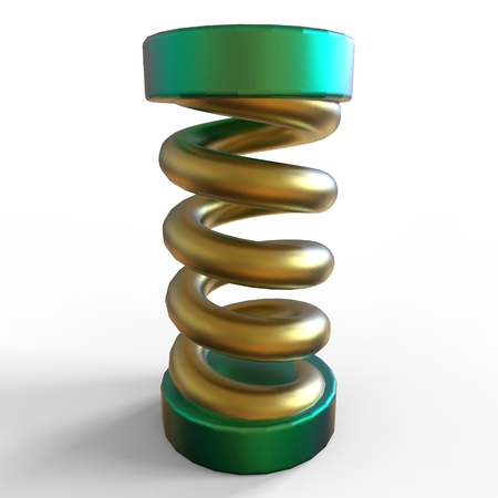 Elastic spring. Metal spiral of different colors, elastic. On a white background.
