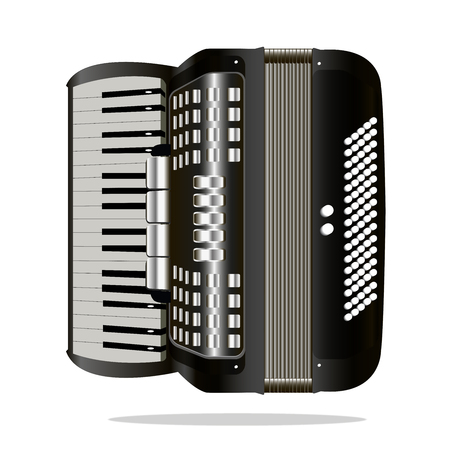 Vector image of a musical instrument accordion. On a white background.