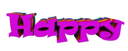 3d render, 3d image. The voluminous text Happy. Stock Photo