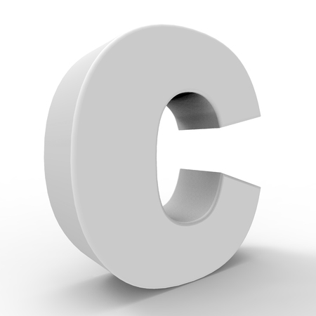 Letter C. 3d image. 3d rendering. The white letter. On a white background. Stock fotó