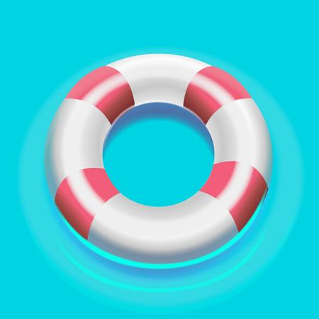 Vector illustration of a life buoy on the water. Illustration