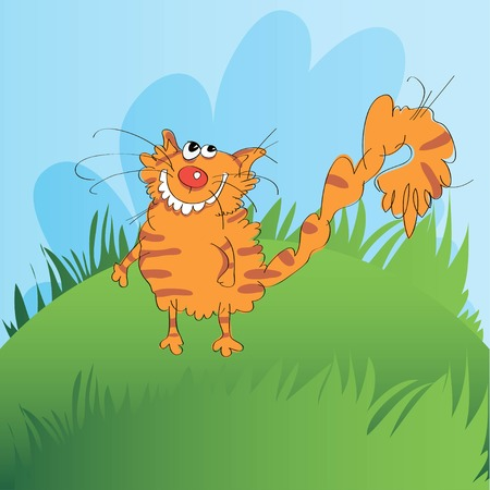 Illustration of a funny vector red-haired cat on a grass background.  イラスト・ベクター素材