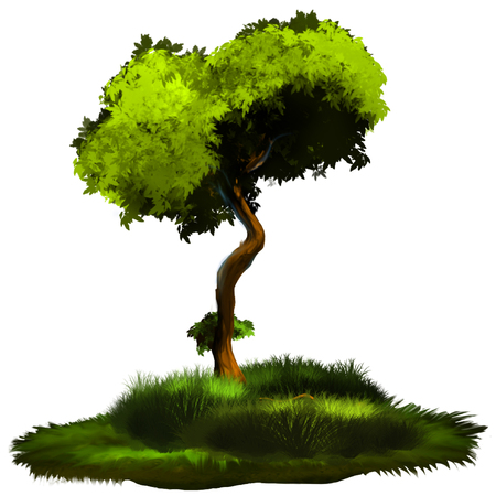 Illustration of a tree. A tree with a green foliage. A large image on an isolated background. Stock Photo