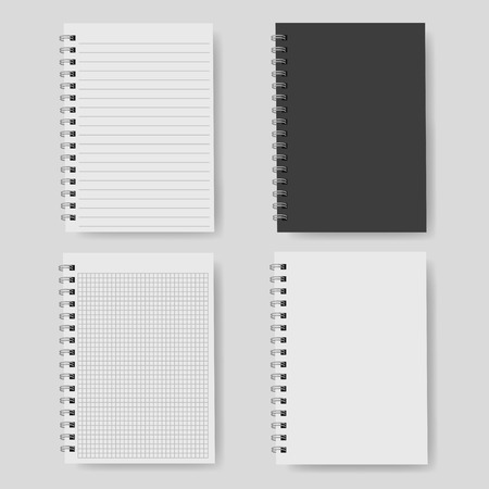 Realistic notebook, vector. A notebook in a ruler, a notebook with a shadow. Vettoriali