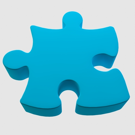 3d image, 3d render. A large volumetric puzzle on a white background. Stock Photo