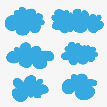 Vector clouds. Cumulus clouds. Cartoons. Blue clouds on white background. Illustration