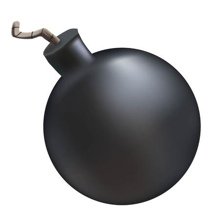 A cartoon bomb. A dark bomb. Vector illustration on a white background. Illustration