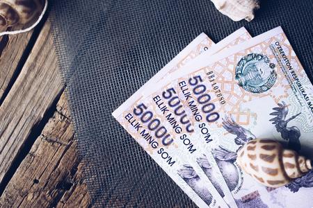 Currency of Uzbekistan. Uzbek money. Money banknote of the country Uzbekistan.