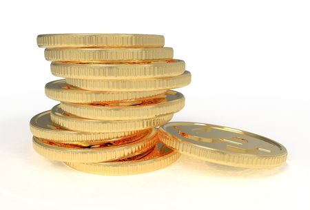 3d illustration, gold coins in a stack. On a gold coin, a dollar sign. Stock Photo