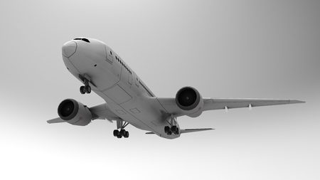 3d illustration, 3d render. 3D image. Airplane, airport, Boeing. On a light background.