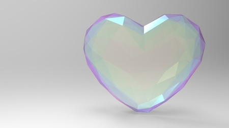 3d illustration, 3d render heart. Three-dimensional image. A small pattern, a symbol of love. On a light background.