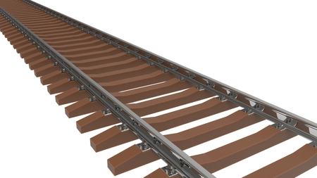 3d illustration, 3d render. 3D image. Rails, railway, sleepers. On a light background.