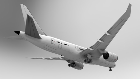 3d illustration, 3d render. 3D image. Airplane, airport,. On a light background.