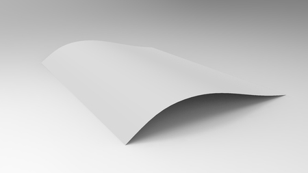 Sheets of paper on a light background. White paper on the table. 3d illustration, 3d render. 3D image.