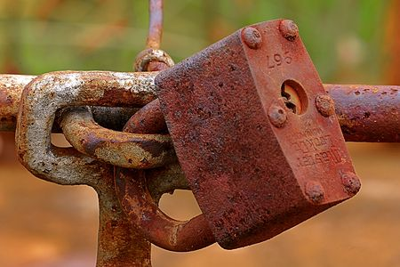 Rusty old lock Stock Photo